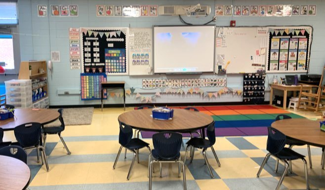 Classroom with donations